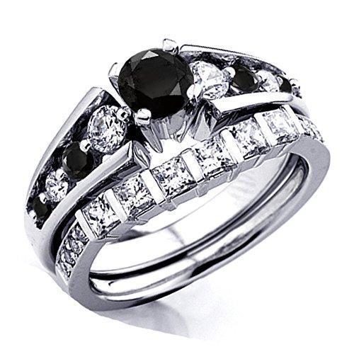 1.75 Carat (ctw) 18K White Gold Princess & Round White And Black Diamond Bridal Ring Set Engagement Set