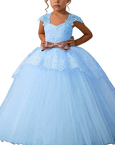 Shadi Bridal Lace Appliques Cap Sleeves Tulle Flower Girl Dresses Fluffy Dress For Girls Blue Size 14