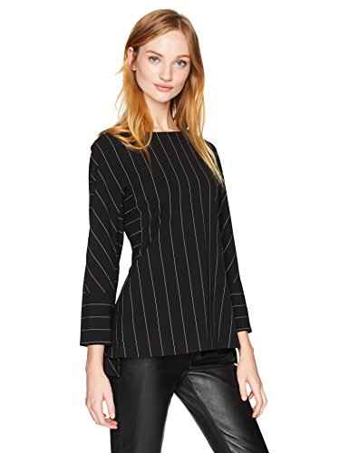 Anne Klein Women's Pinstripe Long Sleeve Blouse, Black/White, 4