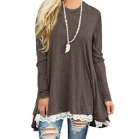Sanifer Women Lace Long Sleeve Tunic Top Blouse (XX-Large, Coffee)