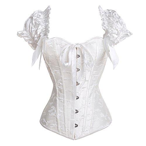 U-Pretty Ruched Sleeves Bridal Elegant Bustier Steel Boned Overbust Corset(White#636,XL)