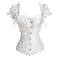 U-Pretty Ruched Sleeves Bridal Elegant Bustier Steel Boned Overbust Corset(White#636,XL)