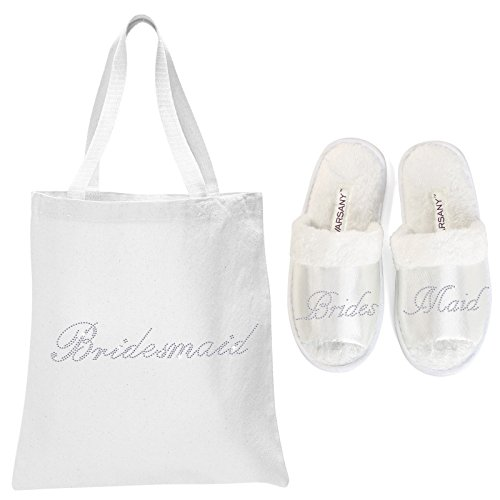White Bridesmaid Crystal Open Toe Spa Slippers and Tote bags wedding bride gift hen party