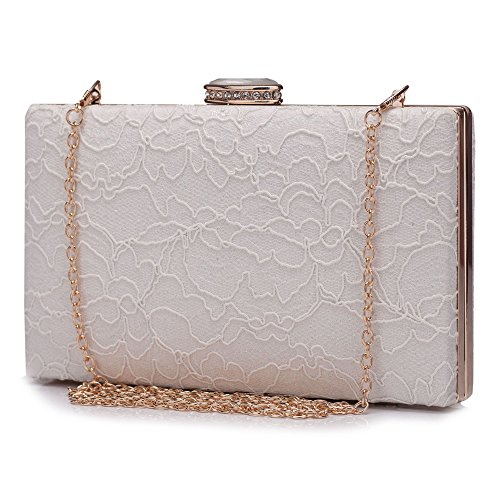 48d619009e3 Chichitop Women s Elegant Floral Lace Design Evening Wedding Clutch  Handbags Bridal Purse Vintage Style (White)   Pretty Outfits