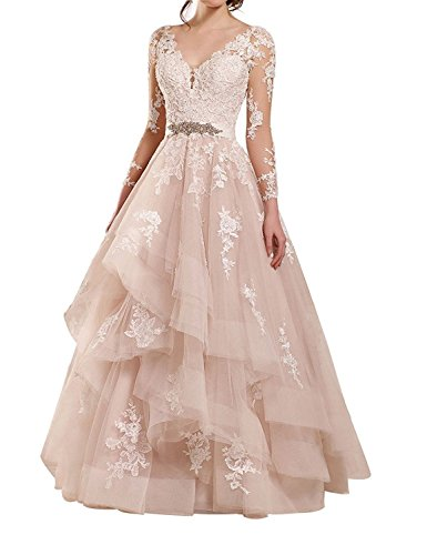 Fanciest Women's Double V Neck Lace Wedding Dresses Long Sleeves Ruffles Bridal Gowns Blush US14