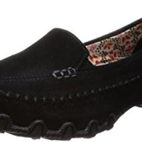 Skechers Women's Bikers-Pedestrian Memory Foam Moccasin,Black Suede,9 M US