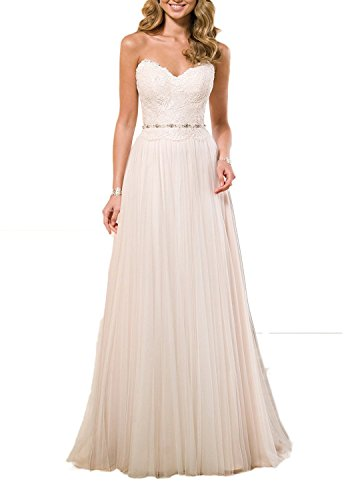 Anlin Sweetheart Lace Bodice Tulle Wedding Dress Beach Bridal Gown Ivory US12