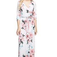 Bon Rosy Women's 3/4 Sleeve V-Neck Bohemian Printed Maxi Wrap Dress Ivory M