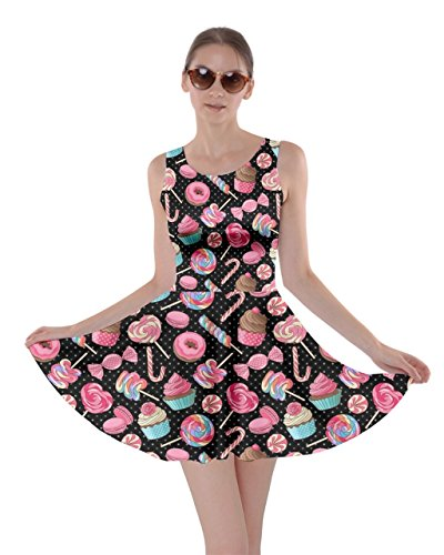 CowCow Womens Black Colorful Sweet Lollipop Candy Macaroon Cupcake Donut Skater Dress, Black – XL