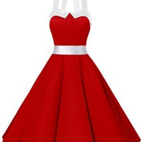 Dressystar Vintage Polka Dot Retro Cocktail Prom Dresses 50's 60's Rockabilly Bandage Solid Red M