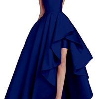 Kevins Bridal Women's Off Shoulder Long Evening Prom Dresses High Low Formal Gowns Royal Blue Size 16