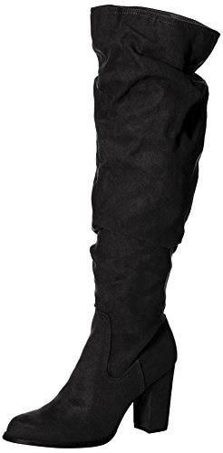 Madden Girl Women's Cinder Fashion Boot, Black Fabric, 7.5 M US