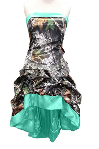 MILANO BRIDE Chic Camo Prom Party Dress Short Hi-Lo Strapless Wedding Party Dress-16-Hunter