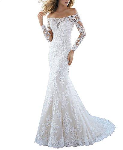 Mingxuerong Off Shoulder Lace sleeve Mermaid Wedding Dresses Bridal Gowns IvoryUS 8