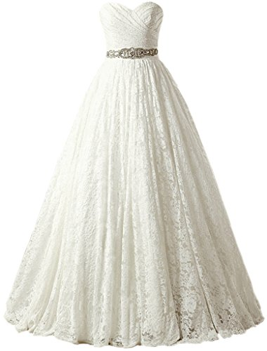 SOLOVEDRESS Women's Ball Gown Lace Princess Wedding Dress 2017 Sash Beaded Bridal Evening Gown (US 16 Plus,Ivory)
