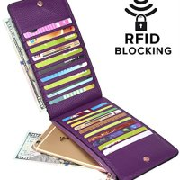 YALUXE Women's RFID Blocking Genuine Leather Multi Card Organizer Wallet with Zipper Pocket RFID Blocking Purple