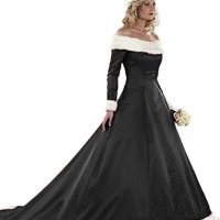 ZVOCY Women's Christmas Wedding Dresses Plus Size Long Sleeve Winter Satin With Faux Fur Bridal Gown Black 18
