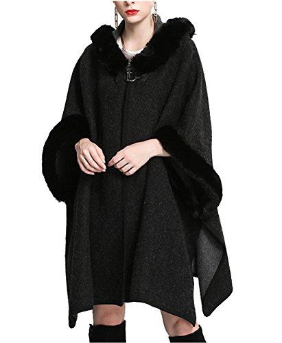 a95d348d001 Women Luxury Bridal Faux Fur Shawl Wraps Long Cloak Coat Sweater Cape With  Fur Hooded (Black)