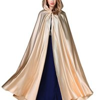 Women's Wedding Hooded Cape Bridal Cloak Poncho Full Length Light Champagne