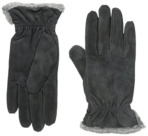 Isotoner Women's Suede Gloves with Gathered Wrist,  Charcoal,  Large