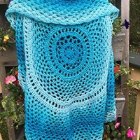 Women's Crochet Boho Circle Vest in Scuba Blue Size Small Medium