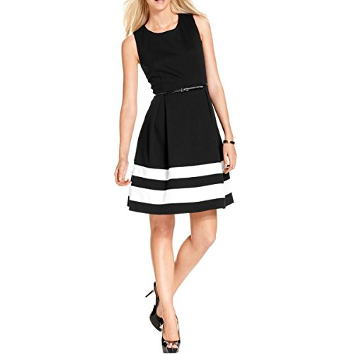 Calvin Klein Women's Petite Sleeveless Color Block Fit and Flare Dress, Black/Ivory, 2/Petite