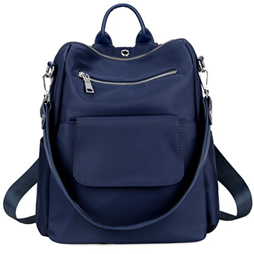 TOPSHINE Women Backpack Purse Water Resistant Nylon Ladies Rucksack with Earphone Hole Shoulder Bag (BLUE)