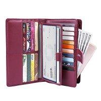 Women's Big Fat Rfid Blocking Leather wallet clutch organizer checkbook holder (Wine Red_)