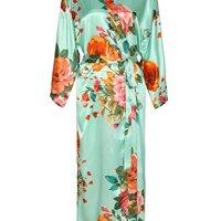 Zarachilable Women 's Long Kimono Robe Floral Bridesmaid Robe,Bridal Robe (One Size, Mint)