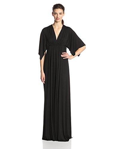 Rachel Pally Women's Flutter Sleeve Long Caftan Dress, Black, M