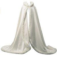 ACB Women's Wedding Bridal Cloak Winter Christmas Faux Fur Edge, White, Free size,