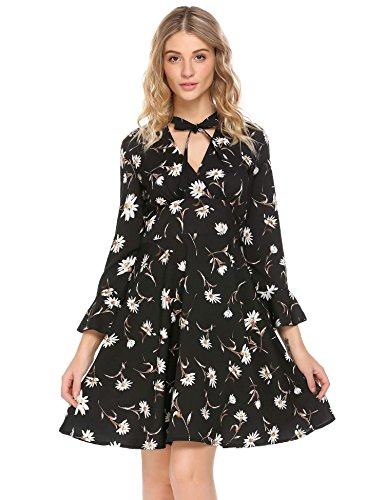 BEAUTYTALK Womens Knit Floral Dress, Large, Black