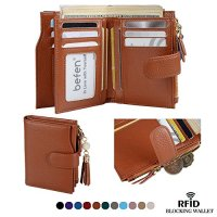 Befen Women's RFID Blocking Luxury Full Grain Genuine Leather Bifold Trifold Wallet Multi Card Organizer Holders for Ladies (Caramel Brown RFID Wallet Small)