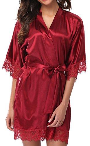 5e6fea4aaaaa Giova Women s Lace Trim Kimono Robe Nightwear Nightgown Sleepwear Satin  Short Robe Red Large