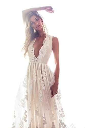 Mileyhouse Bohemia Lace Bridal Gown V-Neck Vintage Long Beach Boho Wedding Dresses