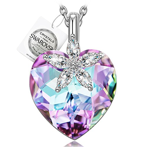 "♥Gifts for Women♥ NINASUN ""Bauhinia Blossom"" 925 Sterling Silver Heart Design Pendant Necklace Fine Jewelry for Women, Crystals from Swarovski"
