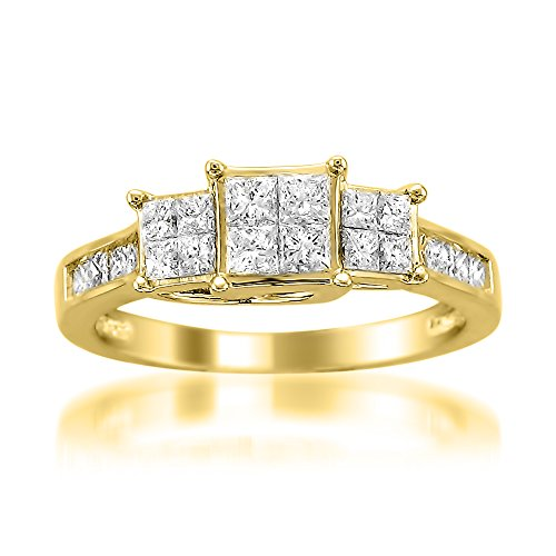 14k Yellow Gold Princess-cut Diamond Invisible-Set Engagement Wedding Ring (1 cttw, I-J, I1-I2)