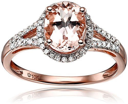 10k Rose Gold Morganite and Diamond Oval Halo Engagement Ring (1/5cttw, H-I Color, I1-I2 Clarity), Size 7