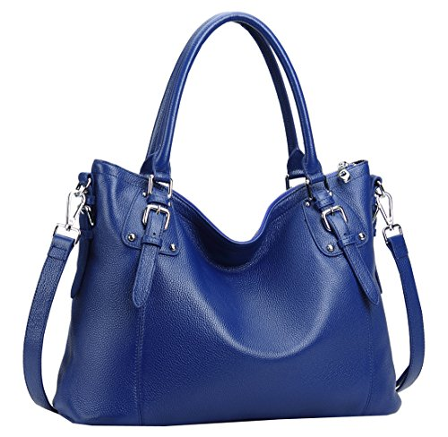 2afc73e54e6 Heshe Women s Vintage Leather Shoulder Handbags Top-Handle Bag Large  Capacity Totes Work Satchel Designer Ladies Purse Cross Body Bag (LBlue)