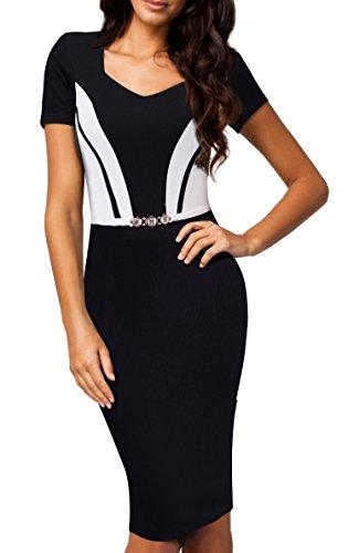 HOMEYEE Women's Vintage Short Sleeve Patchwork V-Neck Business Dress B371 (4, Black + White)