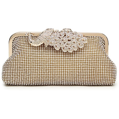 Womens Evening Clutch Bag Wedding Purse Bridal Prom Handbag Cocktail Party Bag Gold