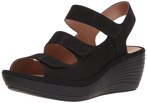 CLARKS Women's Reedly Juno Wedge Sandal, Black/Black Nubuck, 7.5 Medium US
