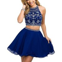 Hear Women's Two Piece Prom Homecoming Dresses Chiffon Short Rhinestone Beaded Mini Dress WWW666