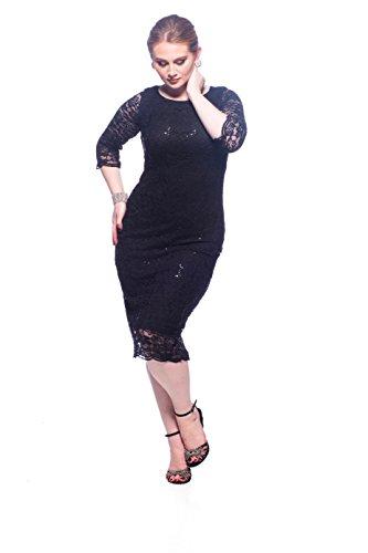 SleekTrends Women's Three Quarter Sleeve Sequin Lace Midi Sheath Dress – Party Dress (Black, 6)