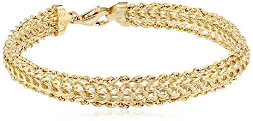 14K Yellow Gold Braided Rope Bracelet, 7.25″