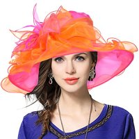 VECRY Kentucky Derby Hat Wide Brim Flounce Cocktail Tea Party Bridal Dress Church Hat (Rose, Medium)