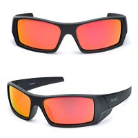 BNUS Italian made Corning natural glass lenses Orange mirrored Ranger Rectangular Sports Polarized Sunglasses for women and men (Frame: Matte Black/Lens: Orange Flash, Polarized)
