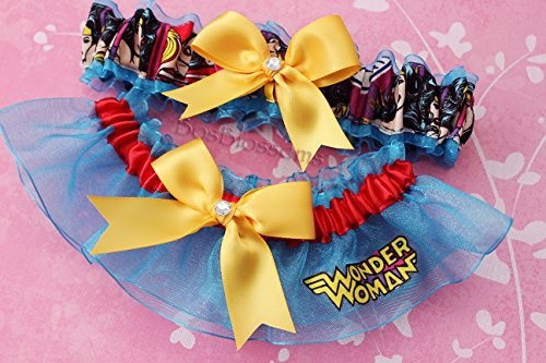 Customizable handmade – Wonder Woman fabric on turquoise sheer organza keepsake bridal garters wedding prom garter set