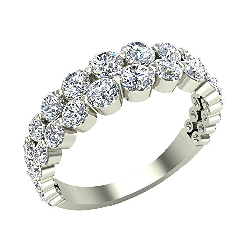 Fashion Two Rows Riviera Diamond Wedding Band or Anniversary Ring 1.67 Carat Total Weight 14K Gold (G,SI)