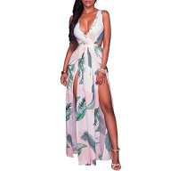 Lkous Sexy Sleeveless V-neck Split Long Beach Dress Floral Print Bodycon Maxi Dress,Large,Light Green